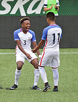 Portland, OR - Saturday August 12, 2017: Christopher Gloster, Bryan Reynolds, Jr. celebrate a goal during friendly match between the USMNT U17's and Chile u17's at Providence Park in Portland, OR.