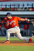 Ramon Laureano (9) of the Greeneville Astros follows through on his swing against the Burlington Royals at Burlington Athletic Park on June 30, 2014 in Burlington, North Carolina.  The Royals defeated the Astros 9-8. (Brian Westerholt/Four Seam Images)