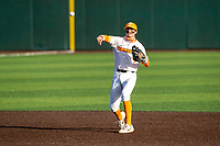 Tennessee Volunteers shortstop Liam Spence (4) warms up prior to the game against the LSU Tigers on Robert M. Lindsay Field at Lindsey Nelson Stadium on March 26, 2021, in Knoxville, Tennessee. (Danny Parker/Four Seam Images)