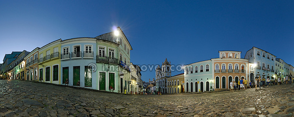 Brazil, Bahia, Salvador, Pelourinho: The plaza Largo do Pelourinho within Salvador de Bahia's beautifully restored historic center of Pelourinho. --- Info: The district Pelourinho was built by the Portuguese in the 18th and 19th century as a residential and administrative center. Neglected for a greater part of the 20th century, Pelourinho received in 1985 the status as a UNESCO World Heritage Site. Restored it is today the crown jewel of Salvador.
