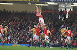 Alun-Wyn Jones wins the line out. Wales V Australia, Invesco Perpetual Series 2008. © Ian Cook IJC Photography iancook@ijcphotography.co.uk www.ijcphotography.co.uk