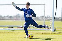 BRADENTON, FL - JANUARY 22: Matt Freese passes the ball during a training session at IMG Academy on January 22, 2021 in Bradenton, Florida.