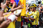 Yellow Jersey Egan Bernal (COL) Team Ineos with fans at sign on before the start of Stage 21 of the 2019 Tour de France running 128km from Rambouillet to Paris Champs-Elysees, France. 28th July 2019.<br /> Picture: ASO/Alex Broadway   Cyclefile<br /> All photos usage must carry mandatory copyright credit (© Cyclefile   ASO/Alex Broadway)