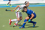 GER - Mannheim, Germany, April 15: During the field hockey 1. Bundesliga match between Mannheimer HC (blue) and Rot-Weiss Koeln (white) on April 15, 2018 at Am Neckarkanal in Mannheim, Germany. Final score 2-2. (Photo by Dirk Markgraf / www.265-images.com) *** Local caption *** Gonzalo Peillat #2 of Mannheimer HC, Marco Miltkau of Rot-Weiss Koeln