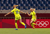 TOKYO, JAPAN - JULY 24: Stina Blackstenius #11 of Sweden celebrates a goal during a game between Australia and Sweden at Saitama Stadium on July 24, 2021 in Tokyo, Japan.