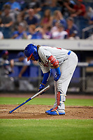 Buffalo Bisons third baseman Vladimir Guerrero Jr. (27) writes in the batters box using his bat during a game against the Syracuse Chiefs on September 2, 2018 at NBT Bank Stadium in Syracuse, New York.  Syracuse defeated Buffalo 4-3.  (Mike Janes/Four Seam Images)