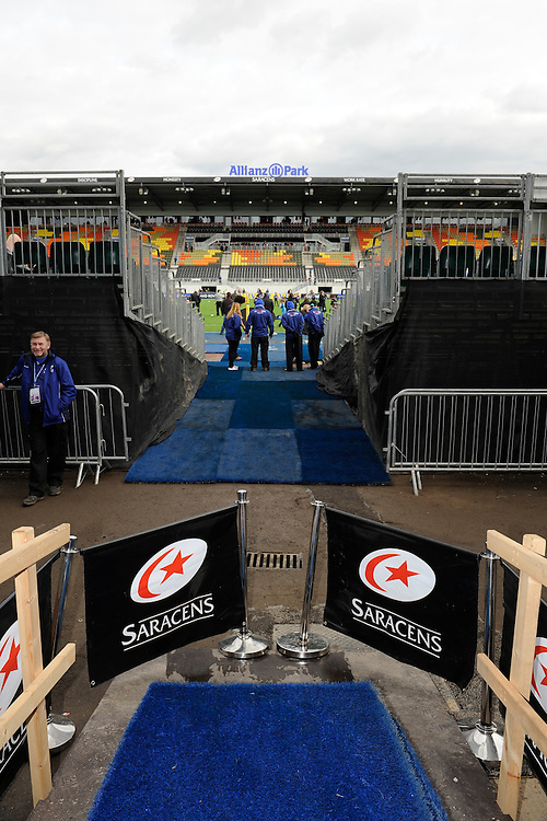 20130216 Copyright onEdition 2013©.Free for editorial use image, please credit: onEdition..Players' entrance to the pitch looking towards the new East Stand during the Premiership Rugby match between Saracens and Exeter Chiefs at Allianz Park on Saturday 16th February 2013 (Photo by Rob Munro)..For press contacts contact: Sam Feasey at brandRapport on M: +44 (0)7717 757114 E: SFeasey@brand-rapport.com..If you require a higher resolution image or you have any other onEdition photographic enquiries, please contact onEdition on 0845 900 2 900 or email info@onEdition.com.This image is copyright onEdition 2013©..This image has been supplied by onEdition and must be credited onEdition. The author is asserting his full Moral rights in relation to the publication of this image. Rights for onward transmission of any image or file is not granted or implied. Changing or deleting Copyright information is illegal as specified in the Copyright, Design and Patents Act 1988. If you are in any way unsure of your right to publish this image please contact onEdition on 0845 900 2 900 or email info@onEdition.com