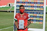 TUNJA - COLOMBIA, 30-01-2021: Cristian Barrios de Patriotas Boyaca F. C. es el jugador del partido de la fecha 3 entre Patriotas Boyaca F. C. y Boyaca Chico F. C. por la Liga BetPlay DIMAYOR I 2021, jugado en el estadio La Independencia de la ciudad de Tunja. / Cristian Barrios of Patriotas Boyaca F. C. is the player of the 3rd date between Patriotas Boyaca F. C. and Boyaca Chico F. C. for the BetPlay DIMAYOR I 2021 League played at the La Independencia stadium in Tunja city. / Photo: VizzorImage / Macgiver Baron / Cont.