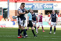13th March 2021; Dens Park, Dundee, Scotland; Scottish Championship Football, Dundee FC versus Arbroath; Max Anderson of Dundee is congratulated after scoring for 2-0 by Osman Sow
