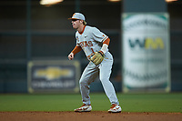 Texas Longhorns second baseman Brenden Dixon (1) on defense against the LSU Tigers in game three of the 2020 Shriners Hospitals for Children College Classic at Minute Maid Park on February 28, 2020 in Houston, Texas. The Tigers defeated the Longhorns 4-3. (Brian Westerholt/Four Seam Images)