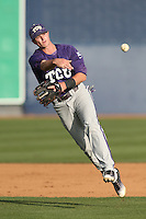 Keaton Jones (26) of the TCU Horned Frogs throws before a game against the Loyola Marymount Lions at Page Stadium on March 16, 2015 in Los Angeles, California. TCU defeated Loyola, 6-2. (Larry Goren/Four Seam Images)