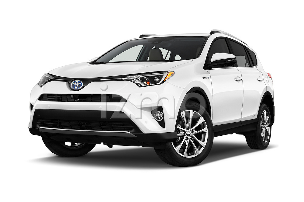 Stock pictures of low aggressive front three quarter view of 2018 Toyota RAV4 Hybrid-Limited-4x4 5 Door SUV Low Aggressive