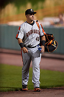 Aberdeen IronBirds catcher Bryndan Arredondo (41) after a game against the Tri-City ValleyCats on August 27, 2018 at Joseph L. Bruno Stadium in Troy, New York.  Aberdeen defeated Tri-City 11-5.  (Mike Janes/Four Seam Images)