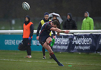 Pete Lydon of London Scottish Football Club scores from the conversion during the Greene King IPA Championship match between London Scottish Football Club and Rotherham Titans at Richmond Athletic Ground, Richmond, United Kingdom on 1 January 2017. Photo by Alan  Stanford.