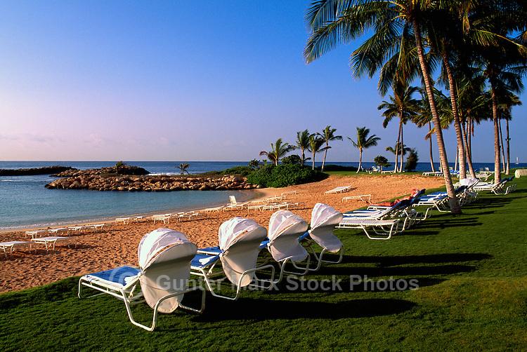 Honolulu, Oahu, Hawaii, Hawaiian Islands, USA, United States - Tropical Beach Resort, Lounge and Lawn Chairs along Oceanfront