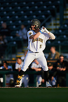 Bradenton Marauders Travis Swaggerty (12) during a Florida State League game against the Jupiter Hammerheads on April 19, 2019 at LECOM Park in Bradenton, Florida.  Bradenton defeated Jupiter 7-1.  (Mike Janes/Four Seam Images)