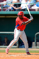 Philadelphia Phillies infielder William Carmona (31) during a minor league Spring Training game against the Atlanta Braves at Al Lang Field on March 14, 2013 in St. Petersburg, Florida.  (Mike Janes/Four Seam Images)