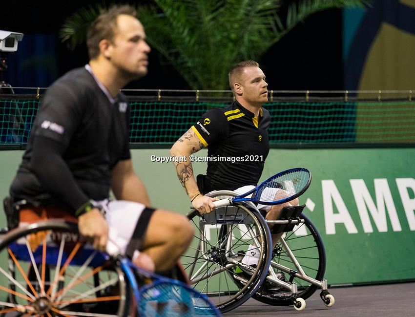 Rotterdam, The Netherlands,7 march  2021, ABNAMRO World Tennis Tournament, Ahoy,  <br /> Doubles Final Wheelchair: Tom Egberink (NED) / Maikel Scheffers (NED).<br /> Photo: www.tennisimages.com/henkkoster