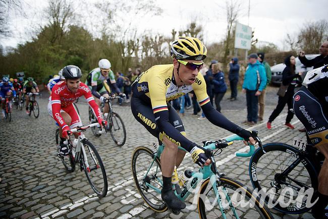 Robert Wagner (DEU/LottoNL-Jumbo) on top of the Kruisberg followed by Nacer Bouhanni (FRA/Cofidis)<br /> <br /> 67th Kuurne-Brussels-Kuurne 2015