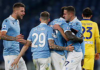 Lazio s Felipe Caicedo, second from right, celebrates with his teammates, from left, Sergej Milinkovic-Savic, Manuel Lazzari and Adam Marusic, right, after scoring during the Serie A soccer match between Lazio and Hellas Verona at Rome's Olympic Stadium, December 12, 2020.<br /> UPDATE IMAGES PRESS/Riccardo De Luca