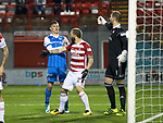 Hamilton Accies v St Johnstone…09.12.17…  New Douglas Park…  SPFL<br />Ioannis Skondras and Callum Hedry square up in the penalty box<br />Picture by Graeme Hart. <br />Copyright Perthshire Picture Agency<br />Tel: 01738 623350  Mobile: 07990 594431