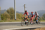 The breakaway led by Thomas De Gendt (BEL) Lotto-Soudal, Willem Smit (RSA) Katusha Alpecin and Krists Neilands (LAT) Israel Cycling Academy during the 99th edition of Milan-Turin 2018, running 200km from Magenta Milan to Superga Basilica Turin, Italy. 10th October 2018.<br /> Picture: Eoin Clarke | Cyclefile<br /> <br /> <br /> All photos usage must carry mandatory copyright credit (© Cyclefile | Eoin Clarke)