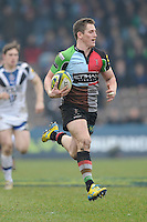 20130309 Copyright onEdition 2013©.Free for editorial use image, please credit: onEdition..Tom Williams of Harlequins runs in a try during the LV= Cup semi final match between Harlequins and Bath Rugby at The Twickenham Stoop on Saturday 9th March 2013 (Photo by Rob Munro)..For press contacts contact: Sam Feasey at brandRapport on M: +44 (0)7717 757114 E: SFeasey@brand-rapport.com..If you require a higher resolution image or you have any other onEdition photographic enquiries, please contact onEdition on 0845 900 2 900 or email info@onEdition.com.This image is copyright onEdition 2013©..This image has been supplied by onEdition and must be credited onEdition. The author is asserting his full Moral rights in relation to the publication of this image. Rights for onward transmission of any image or file is not granted or implied. Changing or deleting Copyright information is illegal as specified in the Copyright, Design and Patents Act 1988. If you are in any way unsure of your right to publish this image please contact onEdition on 0845 900 2 900 or email info@onEdition.com
