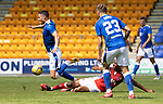 St Johnstone v Fleetwood Town…24.07.21  McDiarmid Park<br />Michael O'Halloran is tackled by Jay Matete<br />Picture by Graeme Hart.<br />Copyright Perthshire Picture Agency<br />Tel: 01738 623350  Mobile: 07990 594431