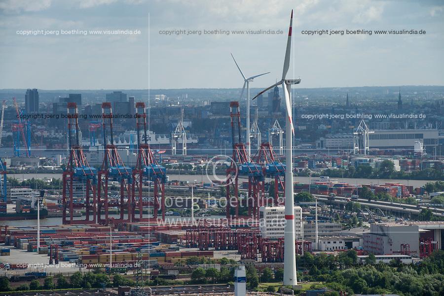 GERMANY, Hamburg, view from Siemens wind turbine to Container terminal in the harbour / DEUTSCHLAND, Hamburg, Blick vom Trimet Gelaende, von einer Siemens Windkraftanlage des kommunalen Stromerzeuger Hamburg Energie auf Containerterminal im Hafen und Nordex WKA von Hamburg Wasser/Hamburg Energie
