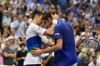12th September 2021: Billie Jean King Tennis Center; New York, USA:  US Opten Tennis Championships, Mens singles final,  Novak Djokovic versus Daniil Medvedev:  Djokovic congratulates Medvedev on his win