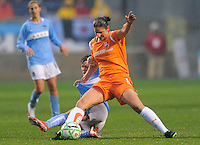 Sky Blue FC player Megan Schnur and Red Stars player Megan Rapinoe  both fight for the ball during their game. Sky Blue FC tied Chicago Red Stars 0-0 on April 19, 2009.