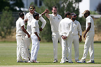Gidea Park claim the wicket of Paresh Kalley from the bowling of Hasitha Nirmal during Oakfield Parkonians CC (batting) vs Gidea Park and Romford CC, Hamro Foundation Essex League Cricket at Oakfield Playing Fields on 17th July 2021