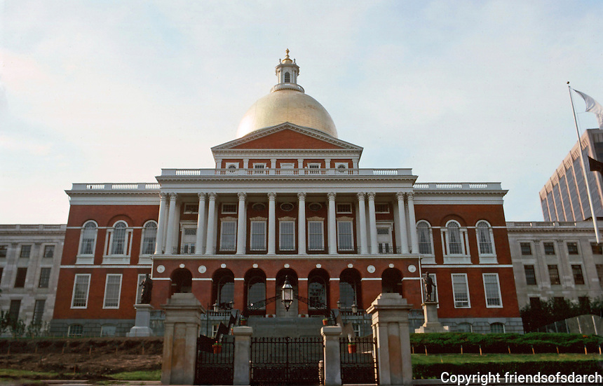 Boston:  State House, 1795-1798.  Architect Charles Bullfinch.  Georgian Neo-Classical style.  Photo '88.