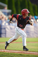 Batavia Muckdogs right fielder Harrison White (40) runs to first base during a game against the Tri-City ValleyCats on July 14, 2017 at Dwyer Stadium in Batavia, New York.  Batavia defeated Tri-City 8-4.  (Mike Janes/Four Seam Images)