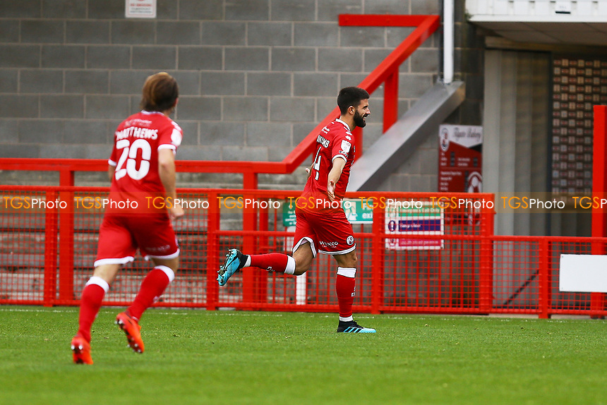 George Francomb of Crawley Town scores the first goal for his team and celebrates during Crawley Town vs Morecambe, Sky Bet EFL League 2 Football at Broadfield Stadium on 17th October 2020