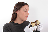 BNPS.co.uk (01202 558833)<br /> Picture: ReemanDansie/BNPS<br /> <br /> The opera glasses believed to have been used by the wife of US president Abraham Lincoln on the evening he was assassinated have emerged 154 year later in Britain. <br /> <br /> The ornate binoculars were dropped by Mary Lincoln when her husband was fatally shot in the presidential box at Ford's Theatre in Washington DC.<br /> <br /> They were later picked up by theatre patron William Kent who had rushed to the stricken president's aid afterwards.<br /> <br /> Now the lacquered brass glasses have been discovered in a house clearance at a property in Suffolk.<br /> <br /> They are being sold at auction for £20,000.
