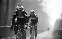 Paris-Roubaix 2012 recon..Juan Antonio Flecha showing the way