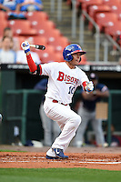 Buffalo Bisons second baseman Ryan Goins (10) at bat during a game against the Gwinnett Braves on May 13, 2014 at Coca-Cola Field in Buffalo, New  York.  Gwinnett defeated Buffalo 3-2.  (Mike Janes/Four Seam Images)