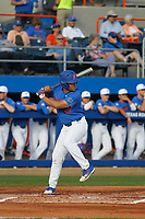 University of Florida Gators outfielder Nelson Maldonado (27) at bat during a game against the Siena Saints at Alfred A. McKethan Stadium in Gainesville, Florida on February 17, 2018. Florida defeated Siena 10-2. (Robert Gurganus/Four Seam Images)