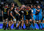 A scuffle during the Super Rugby Match between the Blues and the Chiefs, Eden Park, Auckland,  New Zealand. Friday 26  May 2017. Photo: Simon Watts / www.bwmedia.co.nz