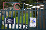 Harestanes AFC v Girvan FC, 15/08/2015. Scottish Cup preliminary round, Duncansfield Park. Posters attached to the main gate before Harestanes AFC versus Girvan FC, a Scottish Cup preliminary round tie, staged at Duncansfield Park, home of Kilsyth Rangers. The home team were the first winners of the Scottish Amateur Cup to be admitted directly into the Scottish Cup in the modern era, whilst the visitors participated as a result of being members of both the Scottish Football Association and the Scottish Junior Football Association. Girvan won the match by 3-0, watched by a crowd of 300, which was moved from Harestanes ground as it did not comply with Scottish Cup standards. Photo by Colin McPherson.