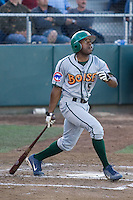 July 19, 2007: Boise Hawks' outfielder Jonathan Wyatt takes a swing during a Northwest League game against the Everett AquaSox at Everett Memorial Stadium in Everett, Washington.