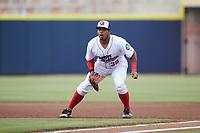 Kannapolis Cannon Ballers first baseman Harvin Mendoza (38) on defense against the Carolina Mudcats at Atrium Health Ballpark on June 9, 2021 in Kannapolis, North Carolina. (Brian Westerholt/Four Seam Images)