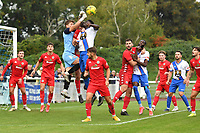 Harrison Male of Worthing punches a cross clear during Enfield Town vs Worthing, Pitching In Isthmian League Premier Division Football at the Queen Elizabeth II Stadium on 16th October 2021