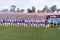 PASADENA, CA - AUGUST 4: The USWNT stands during player introductions during a game between Ireland and USWNT at Rose Bowl on August 3, 2019 in Pasadena, California.