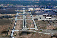 aerial photograph of Kirtland Airforce Base, Albuquerque International Sunport airport (ABQ), Albuquerque, New Mexico; view of approach to runway 26