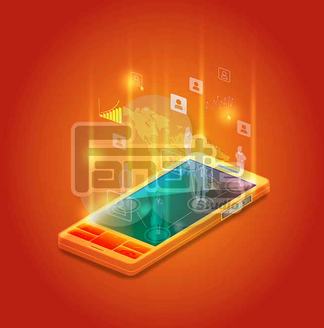 Illustrative image of mobile phone representing business networking