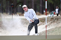 PINEHURST, NC - MARCH 02: Michael Brennan of Wake Forest University chips out of a bunker and onto the green on the 17th hole at Pinehurst No. 2 on March 02, 2021 in Pinehurst, North Carolina.