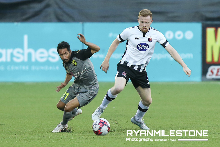Sean Hoare of Dundalk in action against Tete of AEK Larnaca during the UEFA Europa League Second Qualifying Round First Leg between Dundalk and AEK Larnaca on Thursday 26th July 2018 at Oriel Park, Co Louth. Photo By Michael P Ryan