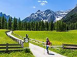 Italy, South Tyrol (Trentino - Alto Adige), near Sexten, district Moos: the picturesque Fischleintal (Val Fiscalina) side valley of Sexten Valley (Valle di Sesto) - and Sexten Dolomites (Dolomiti di Sesto) summit (left) Einserkofel (Cima Una) | Italien, Suedtirol, bei Sexten, Ortsteil Moos: das malerische Fischleintal im Naturpark Drei Zinnen - ein Nebental des Sextentals - vor der Sextener Sonnenuhr, dem Einserkofel (links)